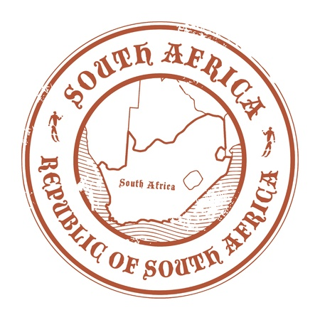 Grunge rubber stamp with the name and map of South Africa Vector