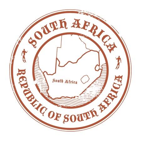 passaporto: Grunge timbro di gomma con il nome e la mappa del Sud Africa