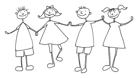 brother and sister cartoon: Hand draw cartoon family