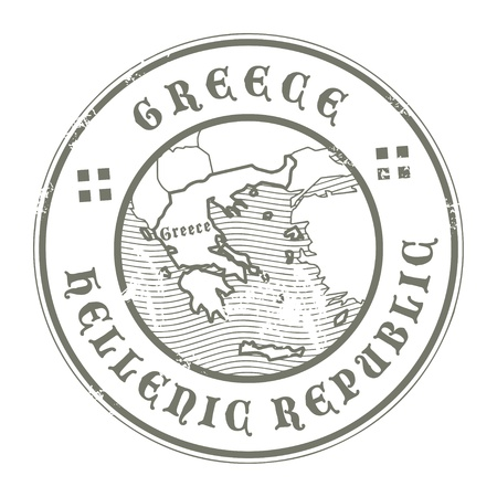 greece stamp: Grunge rubber stamp with the name and map of Greece