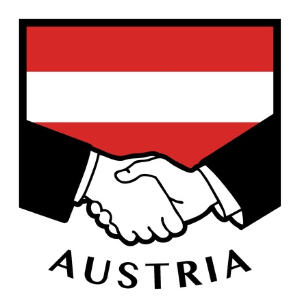 Austria flag and business handshake Stock Vector - 17348045