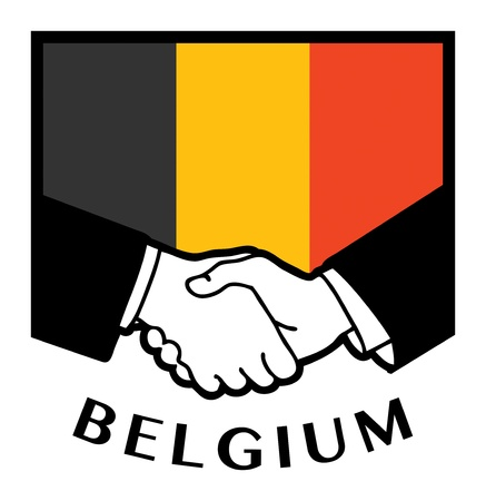 syndicate: Belgium flag and business handshake
