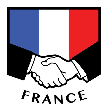 France flag and business handshake Vector