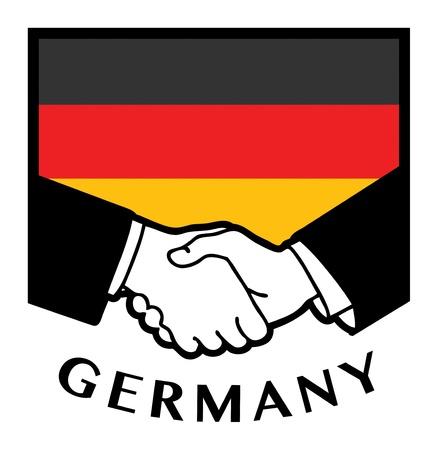 deutschland fahne: Deutschland-Flagge und Business-Handshake