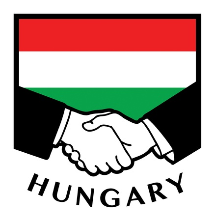 Hungary flag and business handshake Stock Vector - 17348050