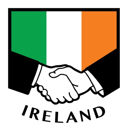 Ireland flag and business handshake Vector