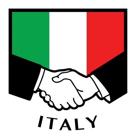 reconciliation: Italy flag and business handshake