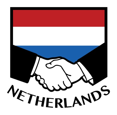 Netherlands flag and business handshake Vector