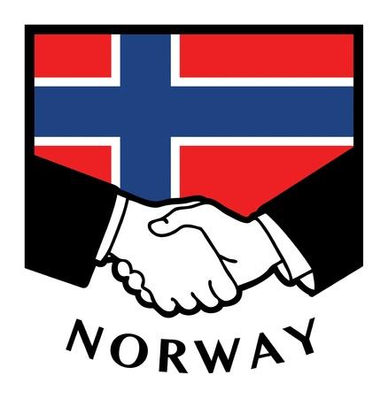 Norway flag and business handshake Stock Vector - 17348047