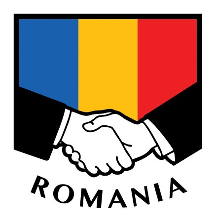 syndicate: Romania flag and business handshake