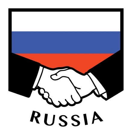syndicate: Russia flag and business handshake