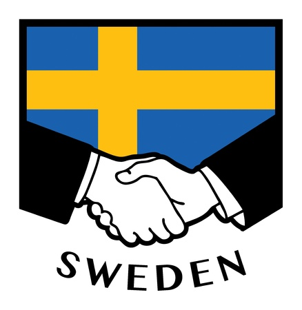 sweden flag: Sweden flag and business handshake Illustration