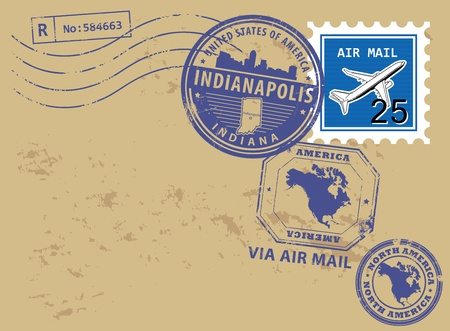 indianapolis: Grunge rubber post stamps set with name of Indiana, Indianapolis Illustration