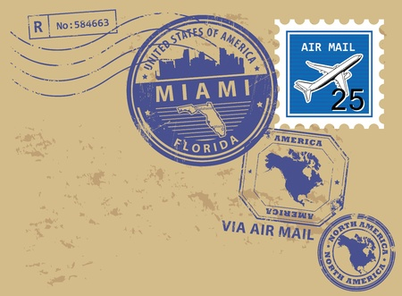 florida state: Grunge rubber post stamps set with name of Florida, Miami