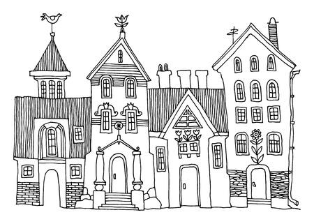 Cartoon hand drawing houses Stock Vector - 17329476