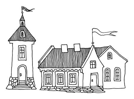 roof line: Cartoon casas de mano de dibujo