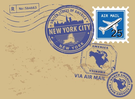 new york city: Grunge rubber post stamps set with name of New York, New York City Illustration