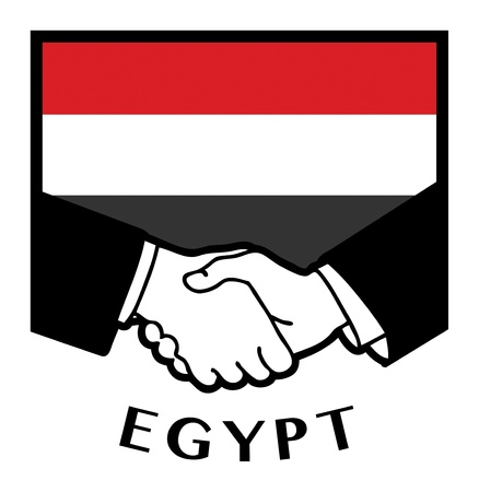 Egypt flag and business handshake Vector
