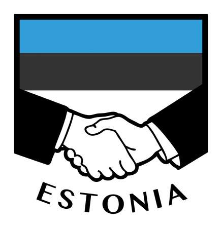 estonia: Estonia flag and business handshake