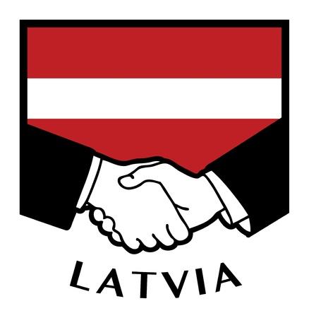 Latvia flag and business handshake Stock Vector - 17386755