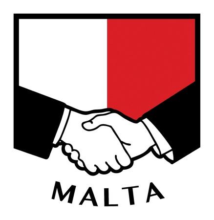 Malta flag and business handshake Stock Vector - 17386750