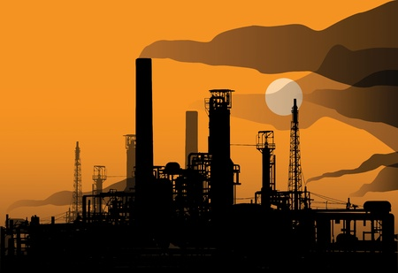 Oil refinery factory and sunset