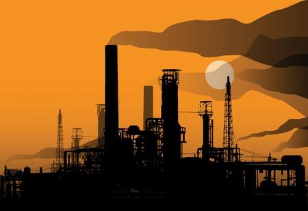 Olieraffinaderij in de fabriek en zonsondergang