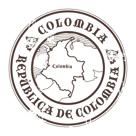 Grunge rubber stamp with the name and map of Colombia