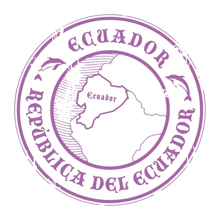 Grunge rubber stamp with the name and map of Ecuador Vector