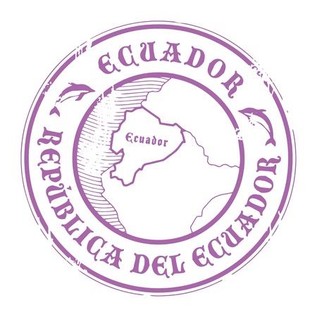 ecuador: Grunge rubberen stempel met de naam en kaart van Ecuador Stock Illustratie