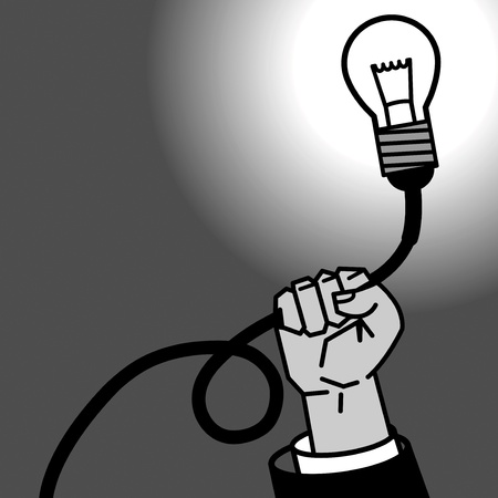 Light bulb in hand Vector