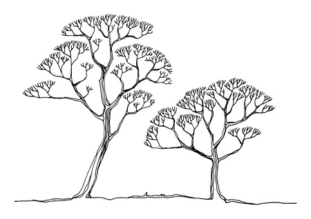 remarkable: Hand drawing sketch of tree Illustration