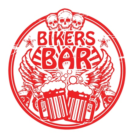 sports bar: Grunge rubber stamp with skull and the words Bikers Bar inside Illustration