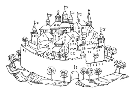 Cartoon hand drawing castle Vector