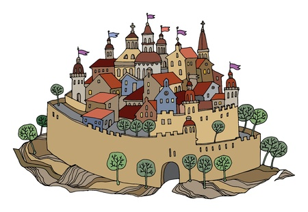town houses capital: Cartoon hand drawing color castle Illustration