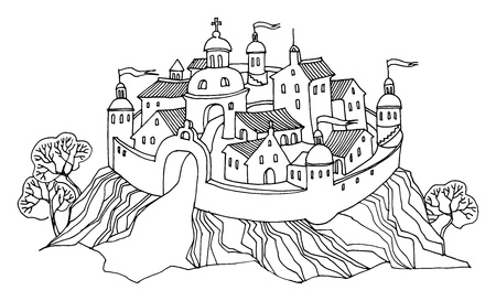 town houses capital: Cartoon hand drawing castle Illustration
