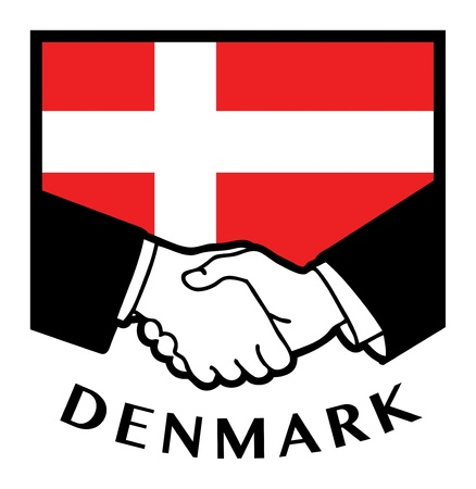 Denmark flag and business handshake Stock Vector - 17590322