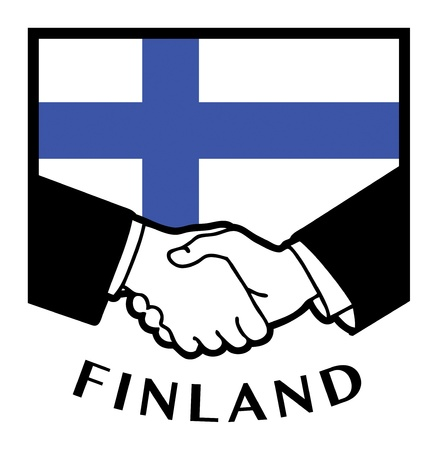 finland flag: Finland flag and business handshake
