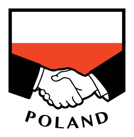 Poland flag and business handshake Stock Vector - 17590330