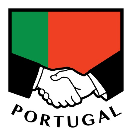 Portugal flag and business handshake Stock Vector - 17590334