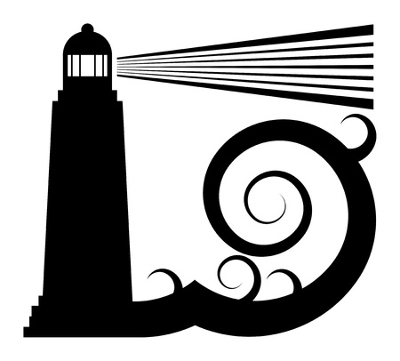 lighthouse at night: Faro en el s�mbolo del mar Vectores