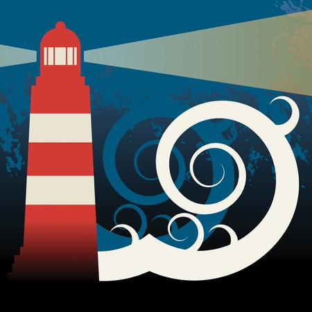 lighthouse with beam: Lighthouse in sea Illustration