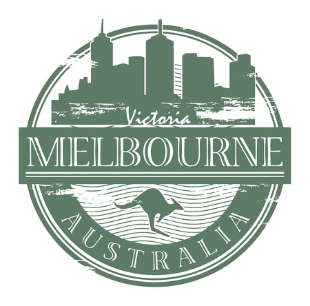 australia stamp: Grunge rubber stamp with the name of Melbourne, Australia written inside the stamp