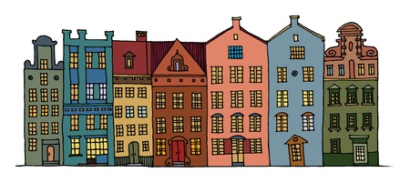 city alley: Cartoon hand drawing color houses Illustration