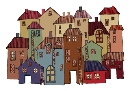 door bell: Hand Drawn color houses