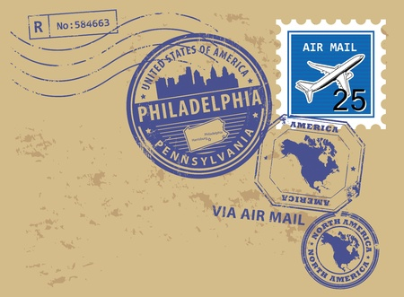 philadelphia: Grunge rubber post stamps set with name of Pennsylvania, Philadelphia