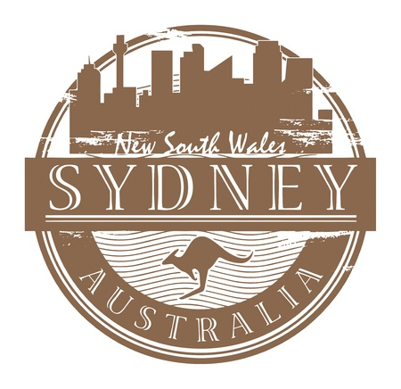 australia stamp: Grunge rubber stamp with the name of Sydney, Australia written inside the stamp