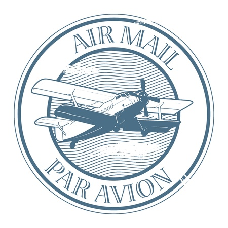 par: Grunge rubber stamp with plane and the text air mail, par avion written inside the stamp