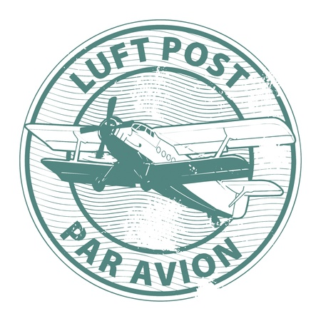 luft: Grunge rubber stamp with plane and the text luft post, par avion written inside the stamp