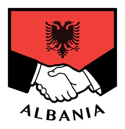 albania: Albania flag and business handshake